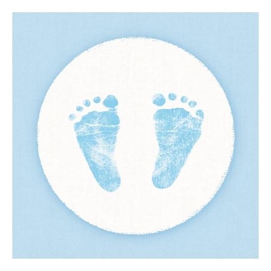 20x Servetten geboorte jongen blauw/wit 3-laags 20 stuks