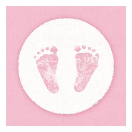 20x Servetten geboorte meisje roze/wit 3-laags