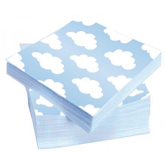 20x stuks wolken geboorte jongen servetten 33 x 33 cm