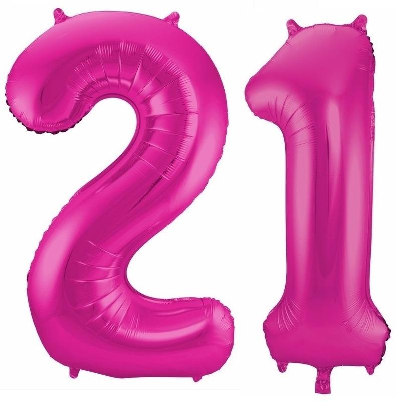 21 jaar roze folie ballonnen 86 cm leeftijd/cijfer