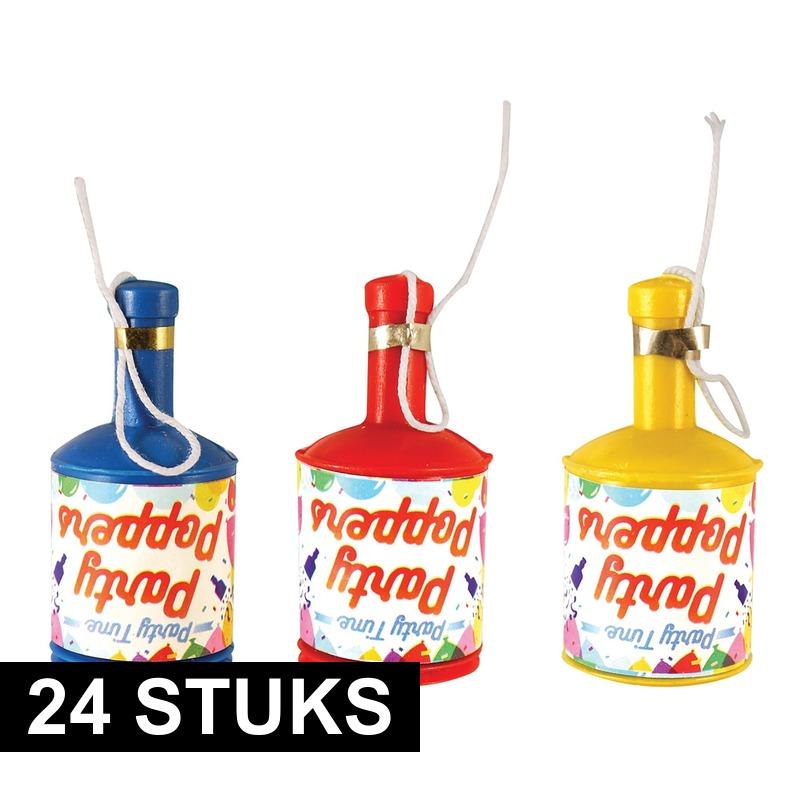24x Party poppers champagne met gekleurde confetti