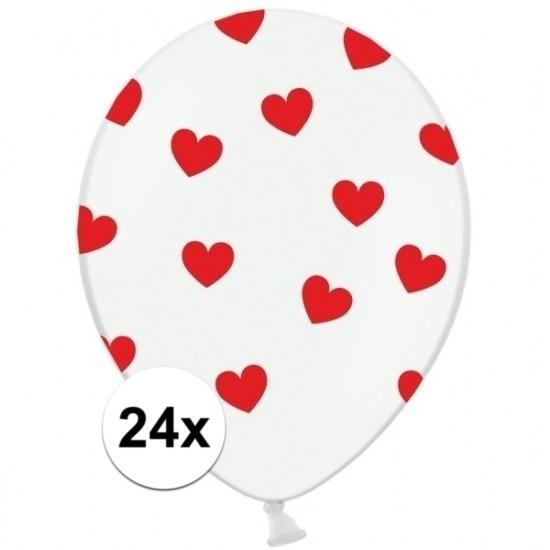 24x stuks witte ballonnen met hartjes rood