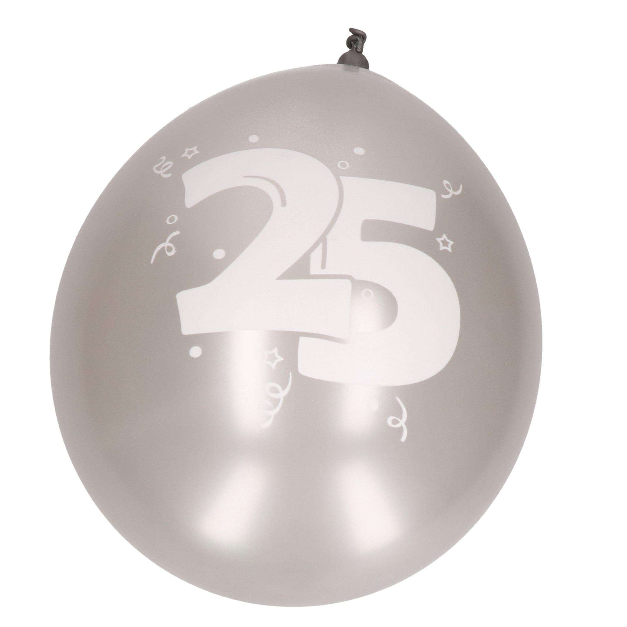 25 jarige thema ballonnen in het zilver 8x stuks