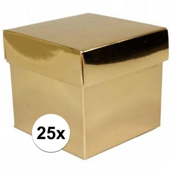 25x stuks Gouden cadeaudoosjes 10 cm vierkant
