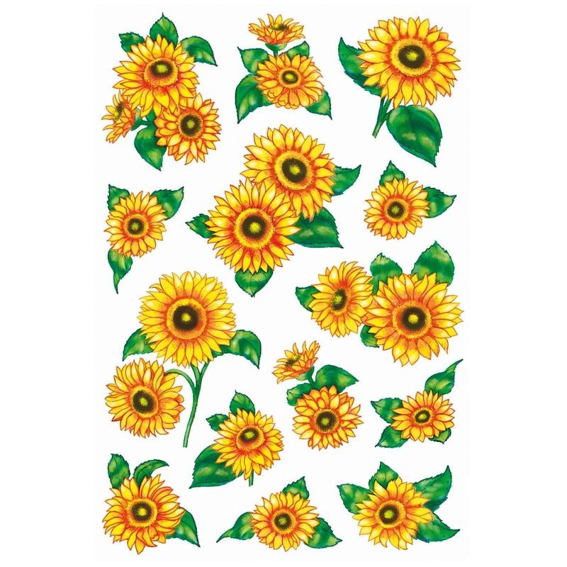 28x Zonnebloemen stickers met glitters