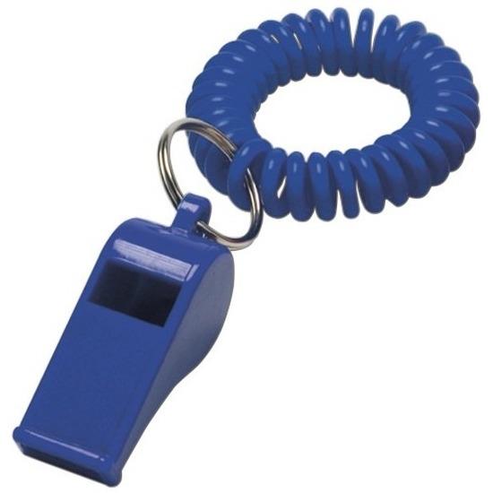 2x Blauwe fluitjes aan polsbandje