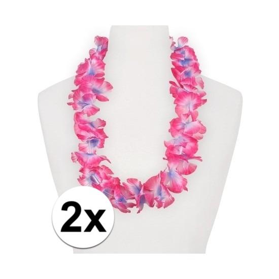 2x Feestartikelen hawaii bloemen krans roze/paars
