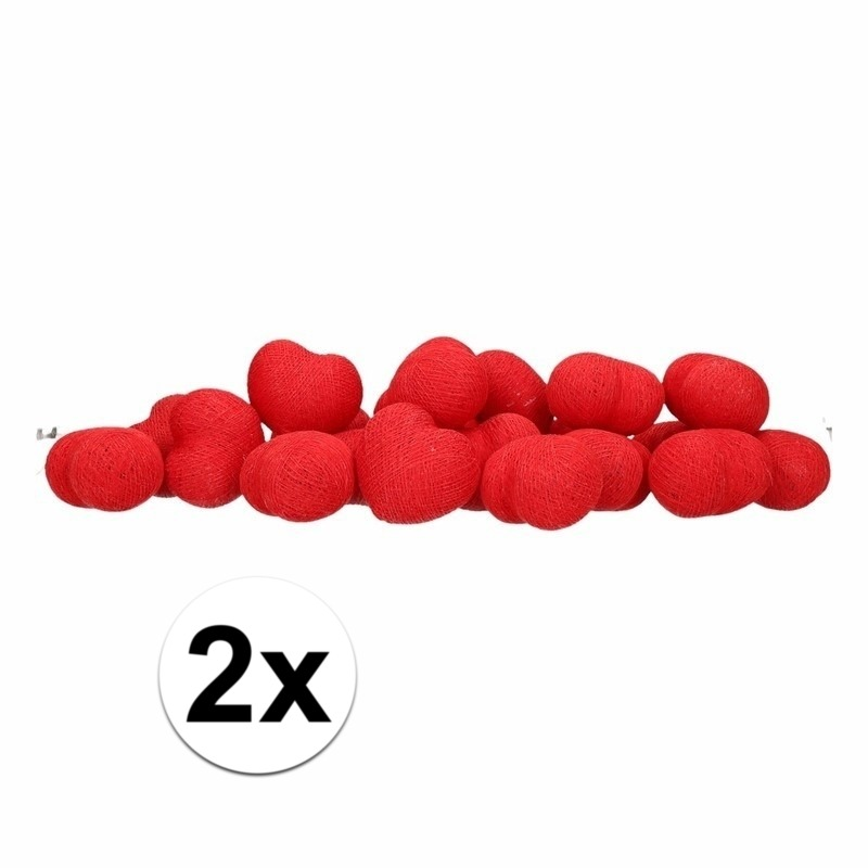 2x Feestverlichting lichtsnoer met rode hartjes balletjes 378 cm
