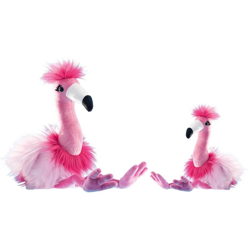 2x Flamingos speelgoed artikelen flamingo knuffelbeest roze 27 en 48 cm