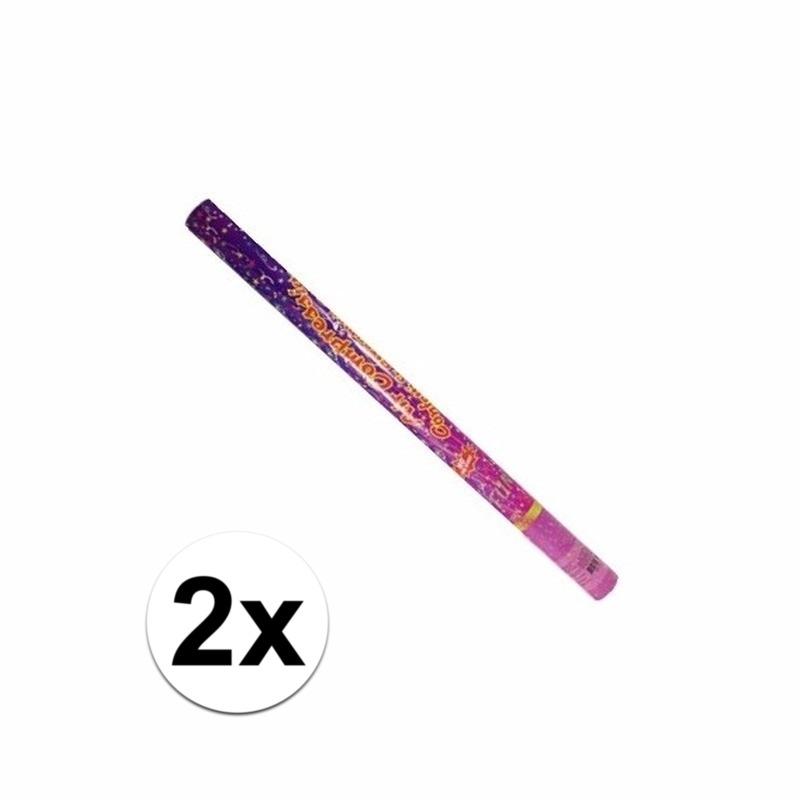 2x Gekleurde confetti kanonnen 80 cm
