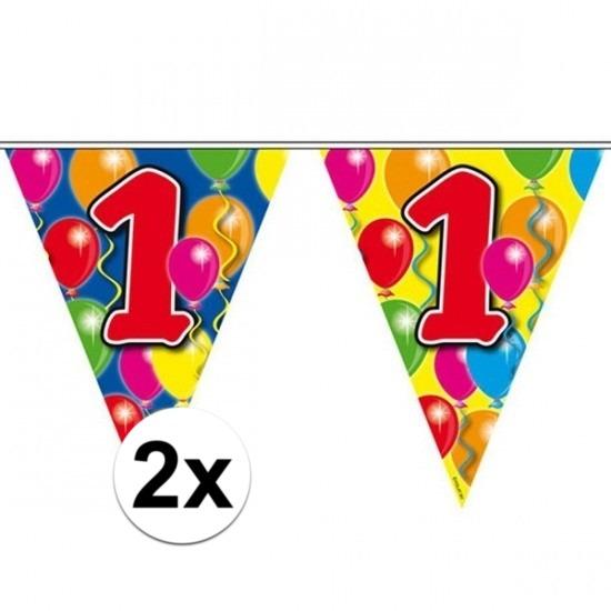 2x Gekleurde vlaggenlijn 1 jaar 10 meter