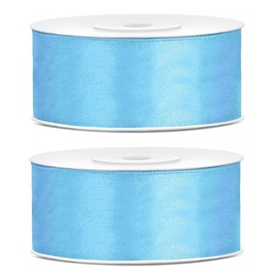 2x Hobby/decoratie blauwe satijnen sierlinten 2,5 cm/25 mm x 25 meter