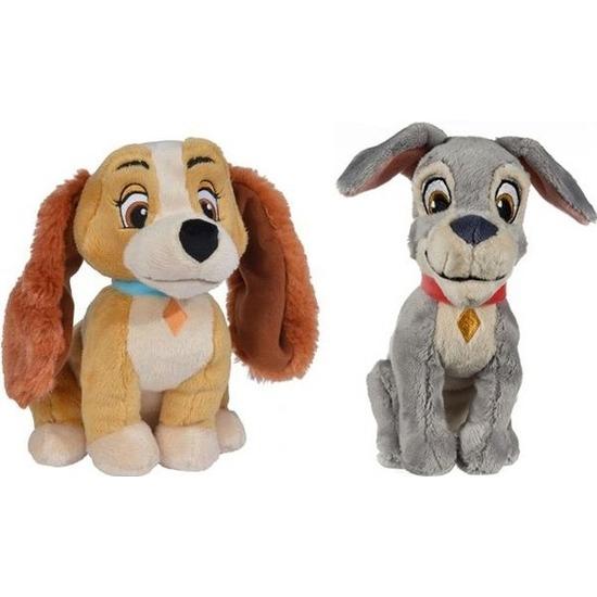 2x Honden speelgoed artikelen Disney Lady en de Vagebond hond knuffelbeest 24 cm