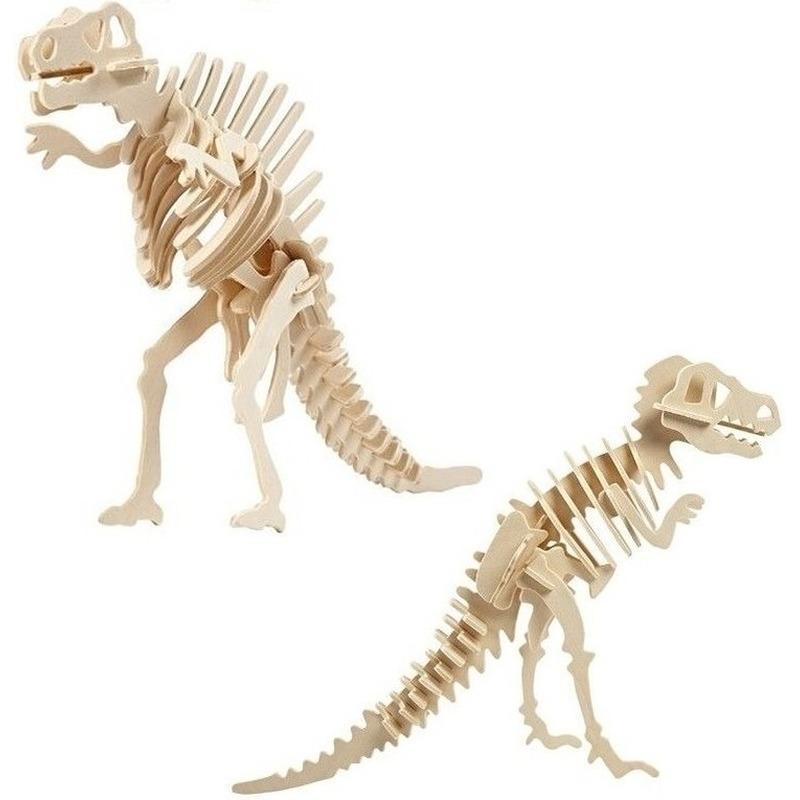 2x Houten Spinosaurus en Tyrannosaurus dinosaurier