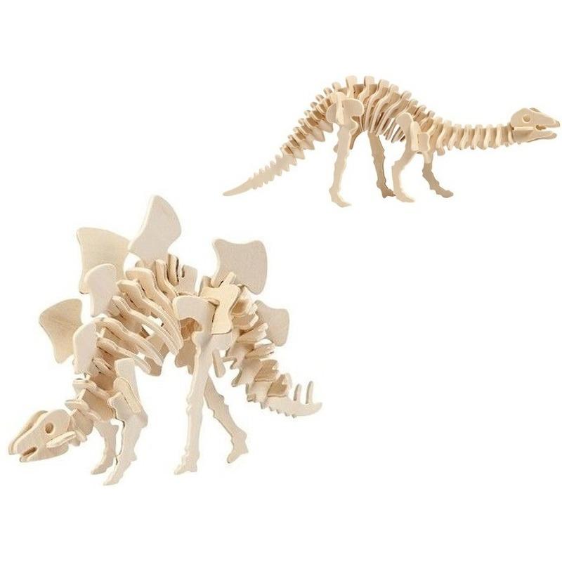 2x Houten Stegosaurus en Apatosaurus dinosaurier