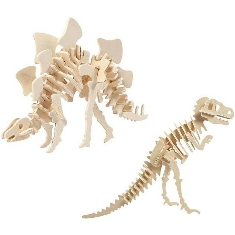 2x Houten Stegosaurus en Tyrannosaurus dinosaurier