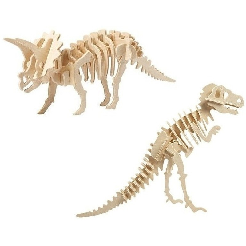 2x Houten Triceratops en Tyrannosaurus dinosaurier