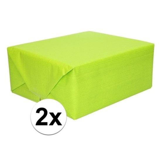 2x Inpakpapier/cadeaupapier lime groen kraftpapier 200 x 70 cm