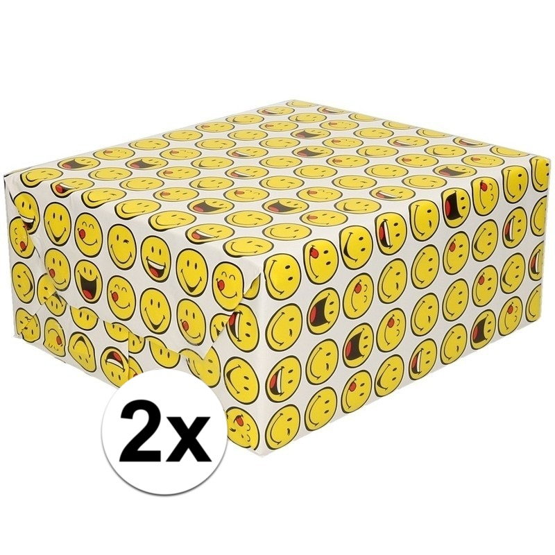 2x Inpakpapier/cadeaupapier wit met smileys 200 x 70 cm