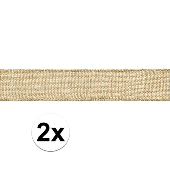 2x Jute cadeaulint/decoratielint 5 x 500 cm op rol