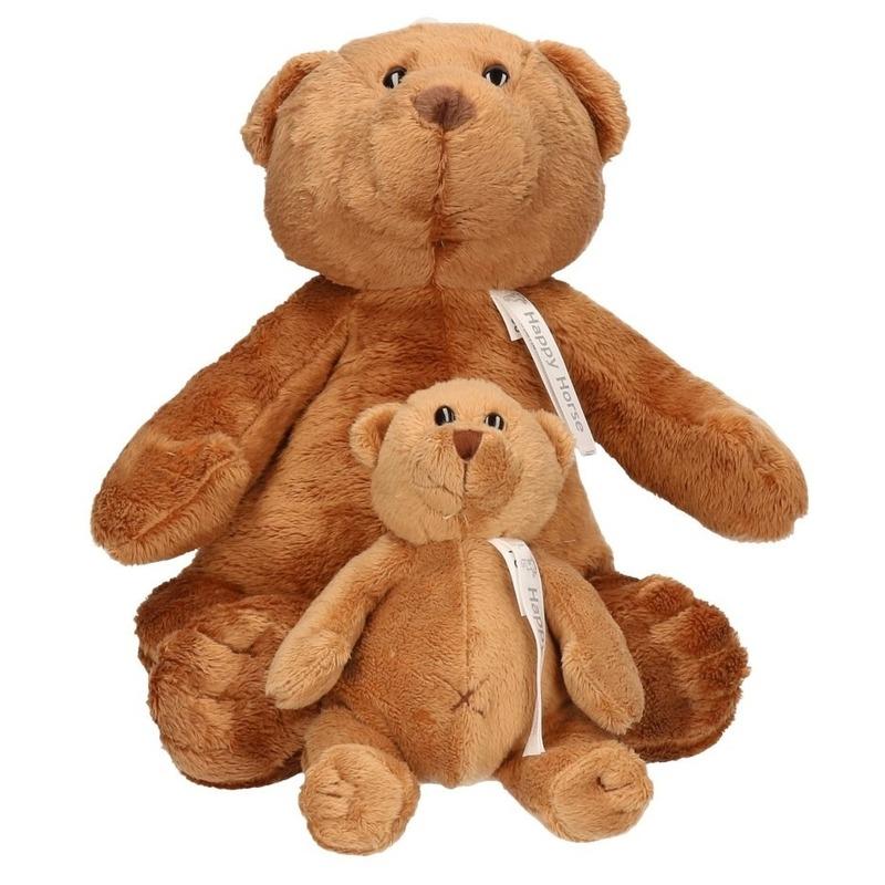 2x Knuffelberen mama en kind Boris 32 en 17 cm