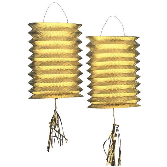 2x Metallic gouden lampionnen 25 cm