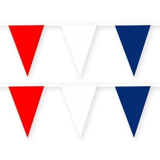 2x Rode/witte/blauwe stoffen vlaggenlijnen/slingers 10 meter