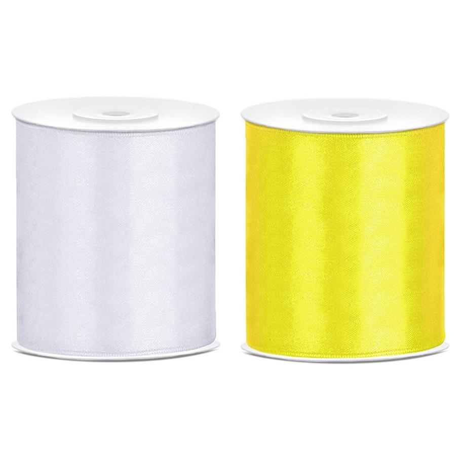 2x rollen hobby decoratie satijnlint geel-wit 10 cm x 25 meter