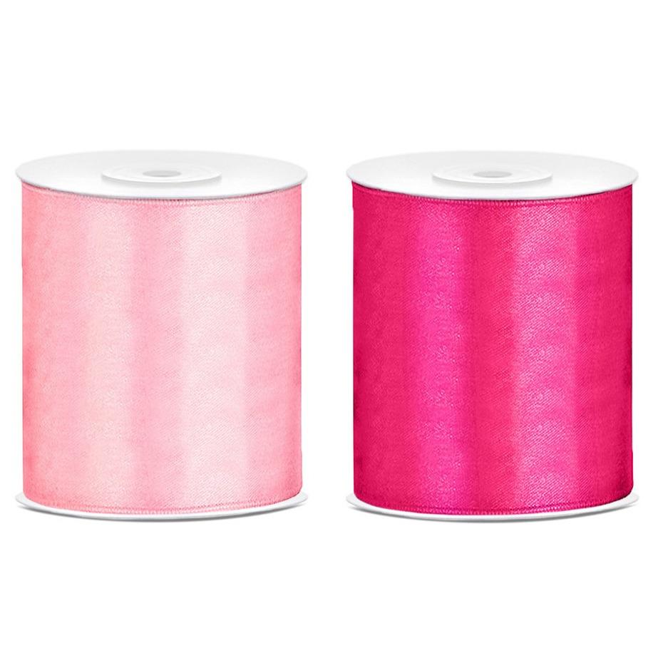 2x rollen hobby decoratie satijnlint licht roze-fuchsia roze 10 cm x 25 meter