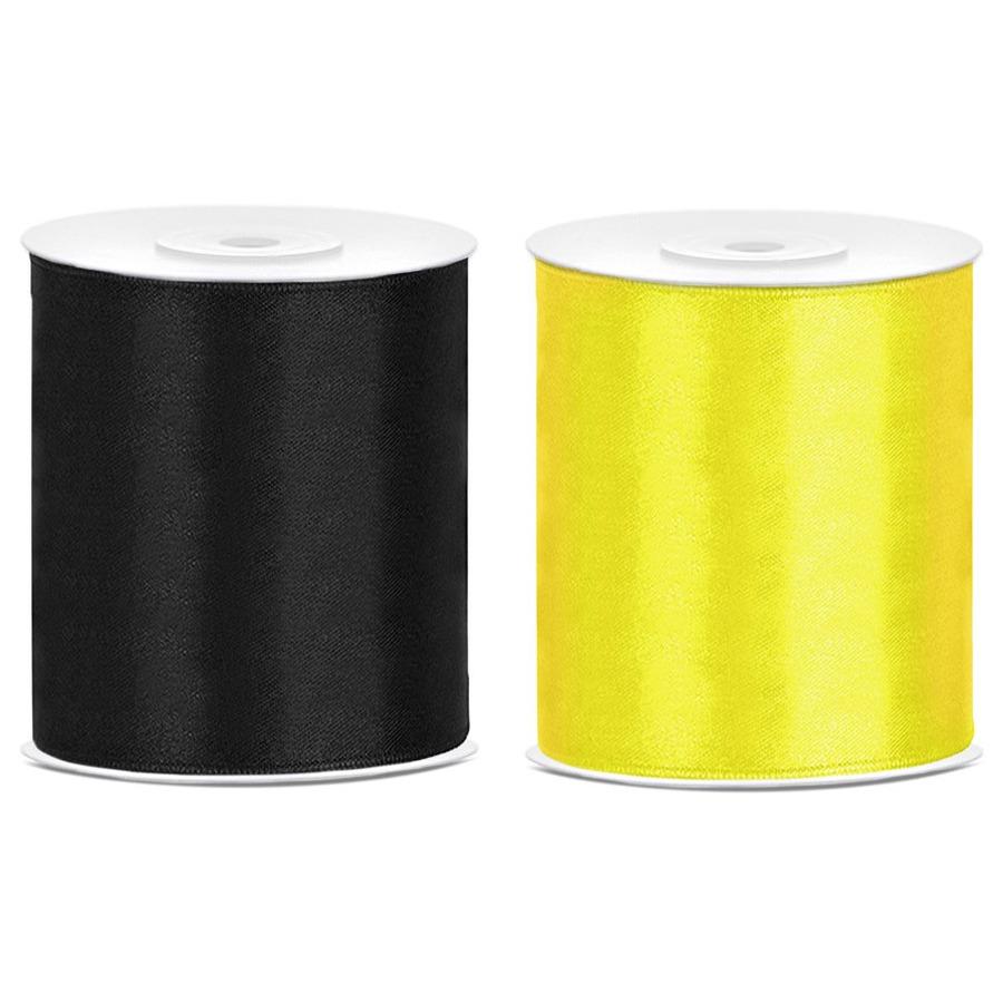 2x rollen hobby decoratie satijnlint zwart-geel 10 cm x 25 meter