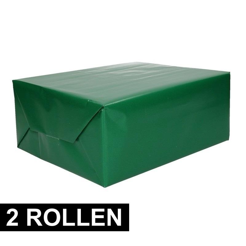 2x rollen Inpakpapier/cadeaupapier groen 200 x 70 cm op rol