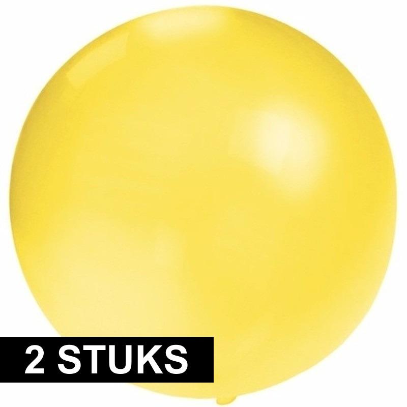2x stuks grote ballonnen van 60 cm geel