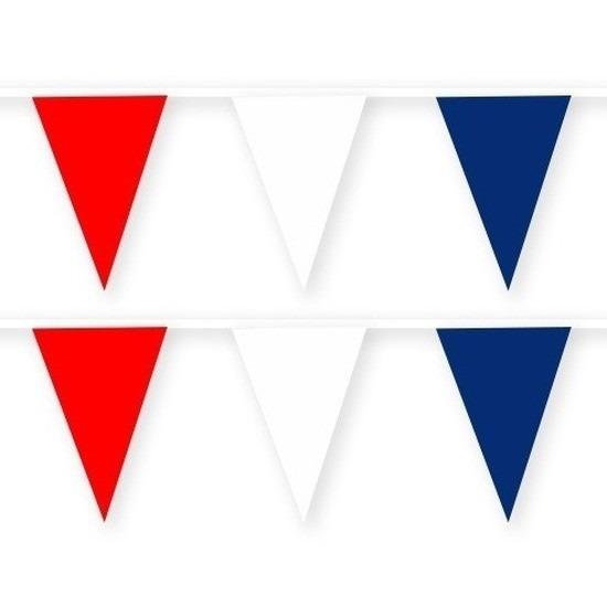 2x Tsjechie stoffen vlaggenlijnen/slingers 10 meter van katoen