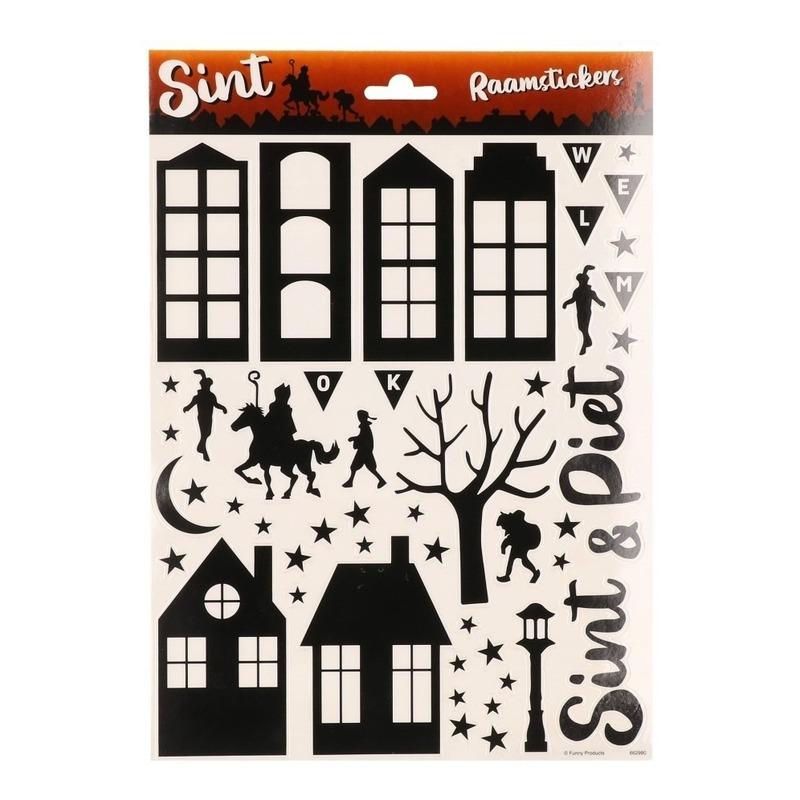 2x Vellen met Sinterklaas raamstickers zwart