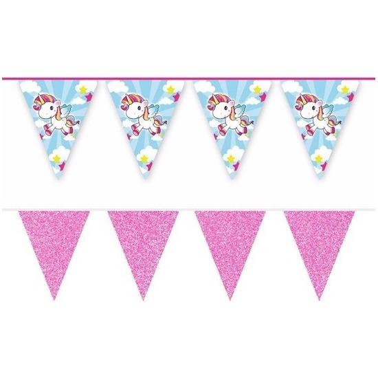 2x Vlaggenlijnen eenhoorn en roze glitters 10 meter