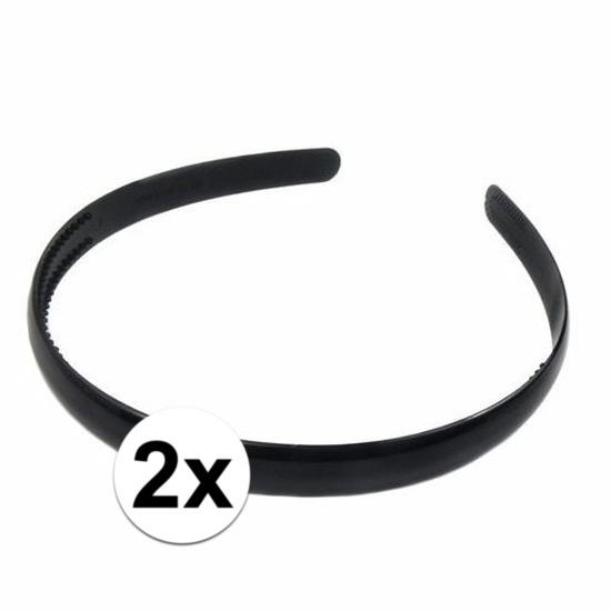 2x Zwarte dames diadeem/haarband