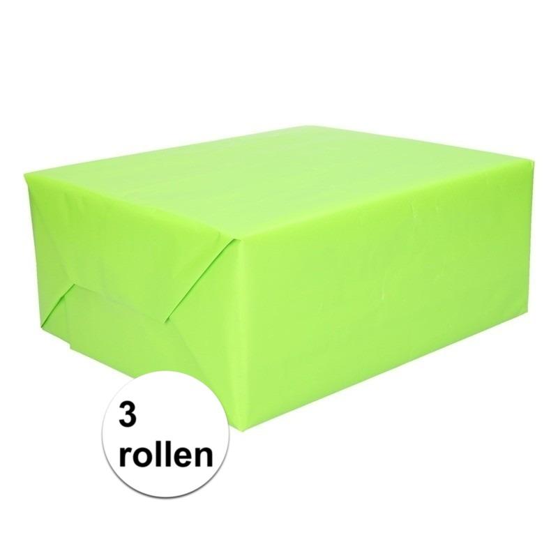 3 rollen Kadopapier lime groen 200 x 70 cm