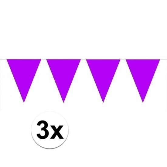 3 stuks paarse vlaggetjes slinger van 10 meter