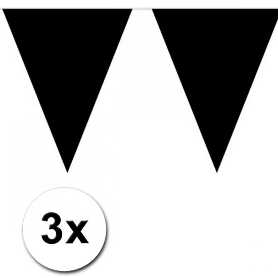 3 zwarte plastic vlaggenlijnen