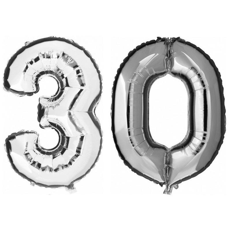 30 jaar zilveren folie ballonnen 88 cm leeftijd/cijfer