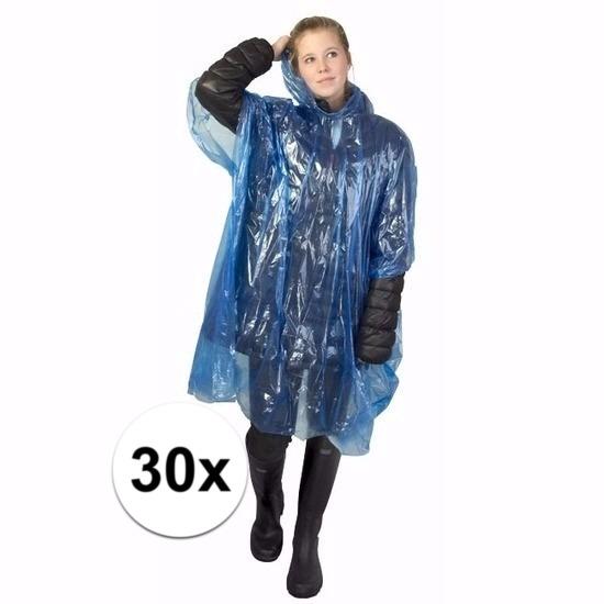 30x blauwe poncho met capuchon voor volwassenen