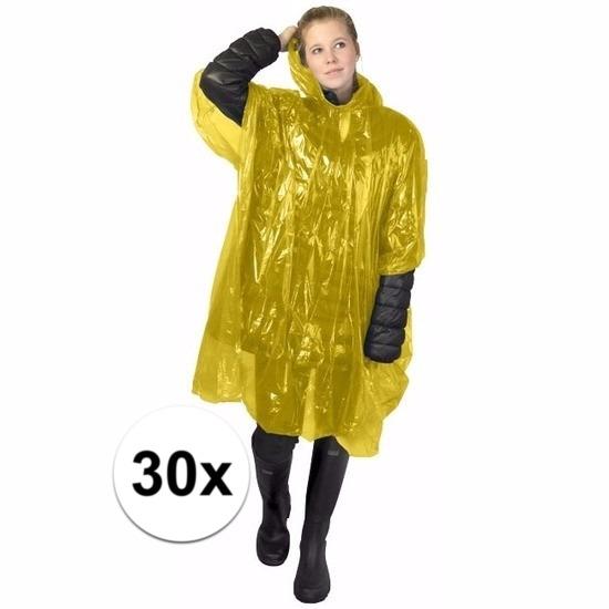 30x gele poncho met capuchon voor volwassenen