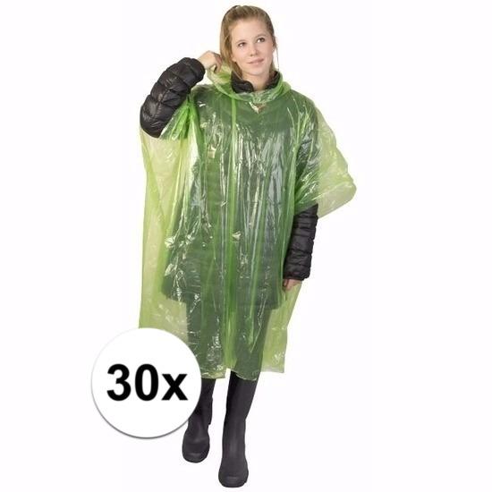 30x groene poncho met capuchon voor volwassenen