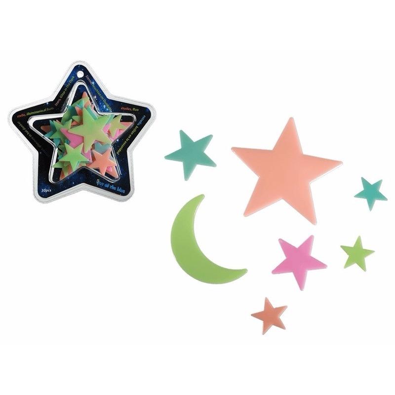 30x stuks Glow in the dark sterren 12 cm