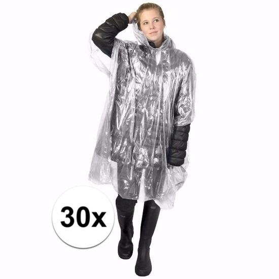 30x transparante poncho met capuchon voor volwassenen