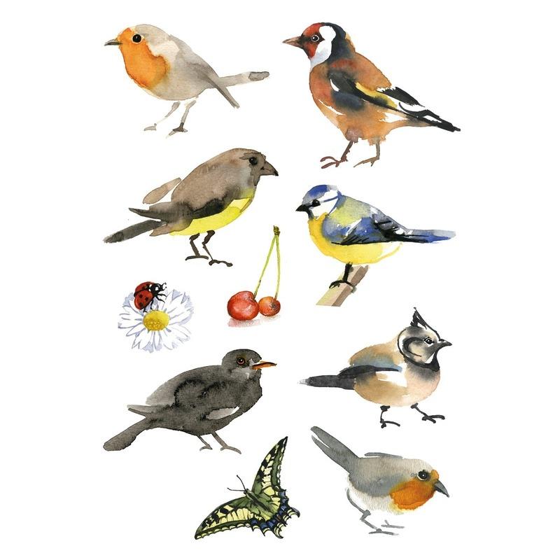 30x Vogels dieren stickers