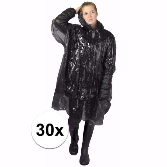 30x zwarte poncho met capuchon voor volwassenen