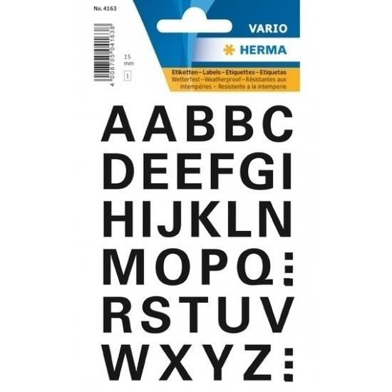32x Letter stickers zwart 15 mm