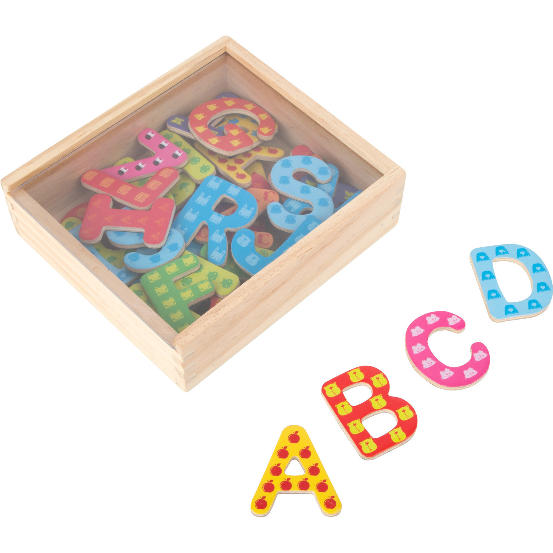 37x Magnetische houten letters gekleurd