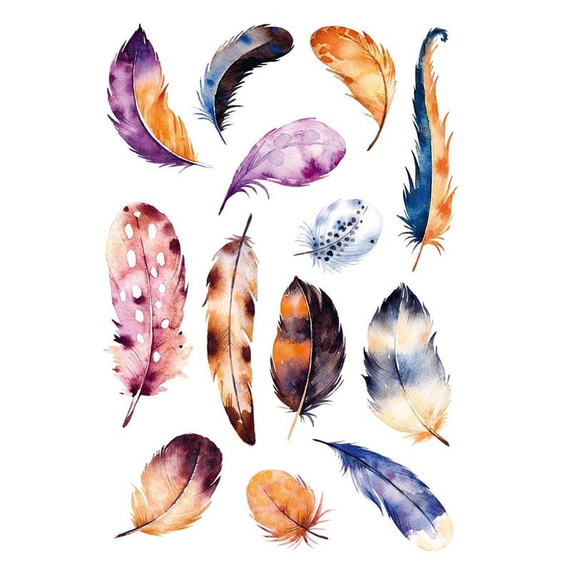 39x Gekleurde veren stickers met aquarel print